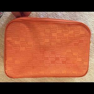 Large orange makeup pouch